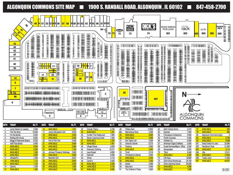 Algonquin Commons Site Map